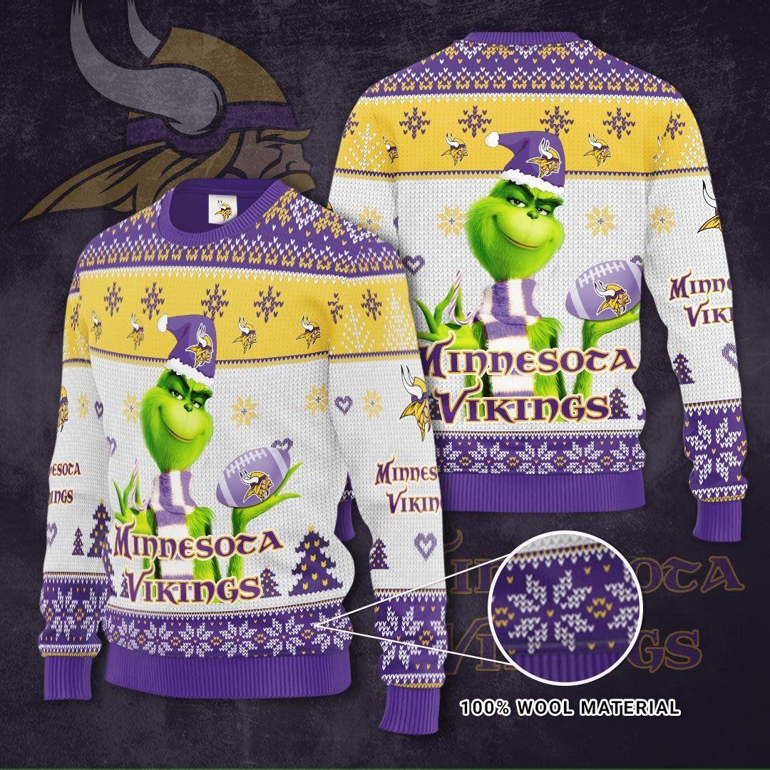 NFL Minnesota Vikings Grinch Christmas Sweater