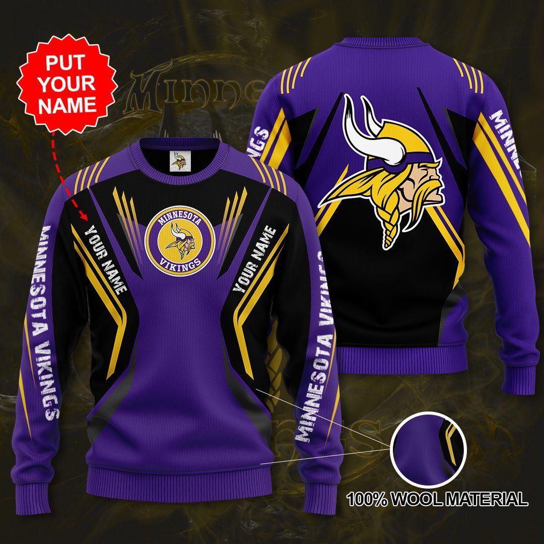 Personalized Name Number Minnesota Vikings Sweater