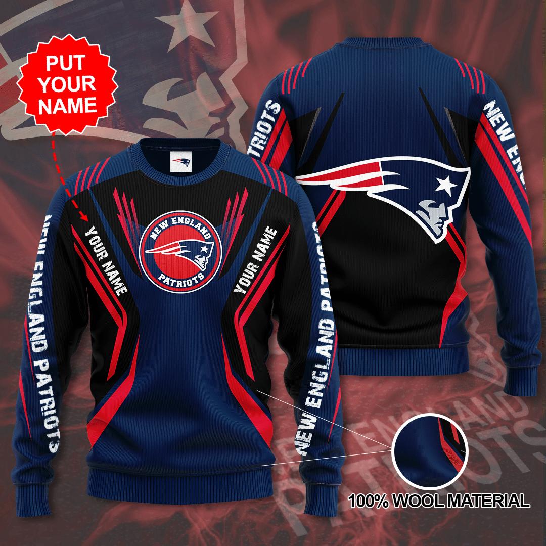 Custom Name New england patriots big logo Sweater