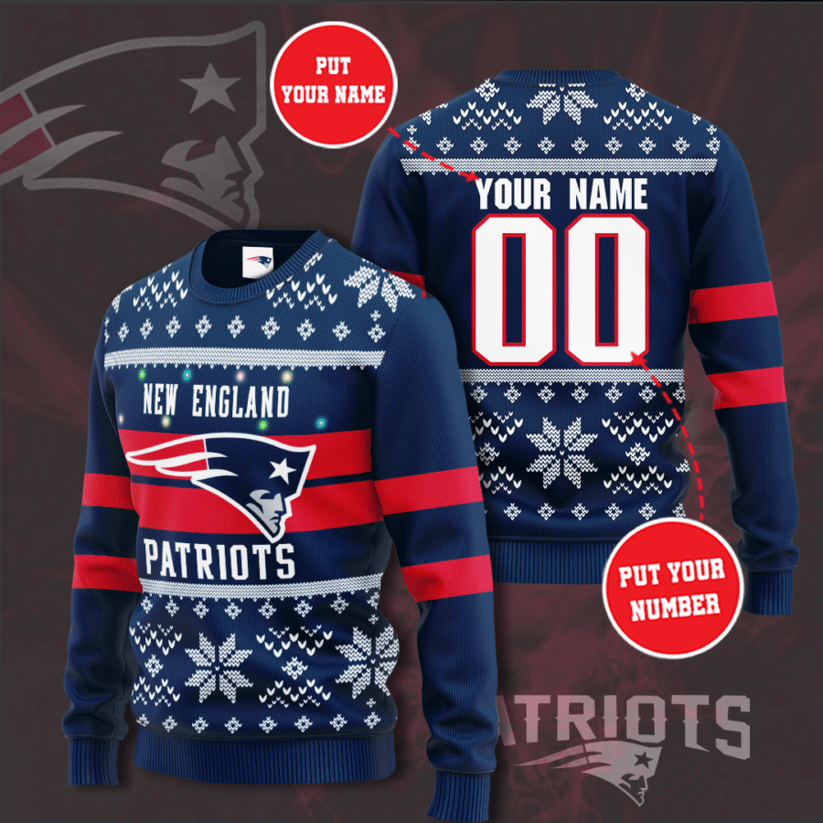 Personalized New england patriots Christmas Sweater