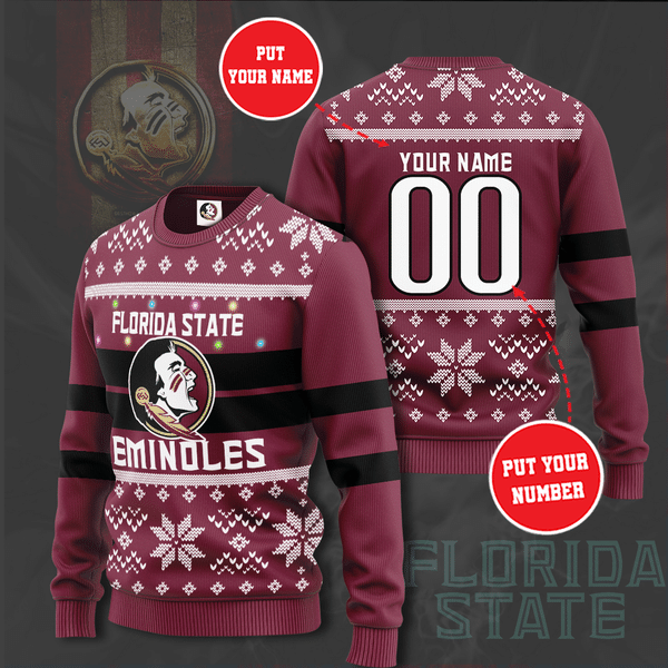Personalized NCCA Florida State Seminoles Christmas Sweater