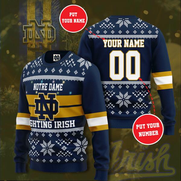 Personalized NOTRE DAME FIGHTING IRISH Christmas Sweater