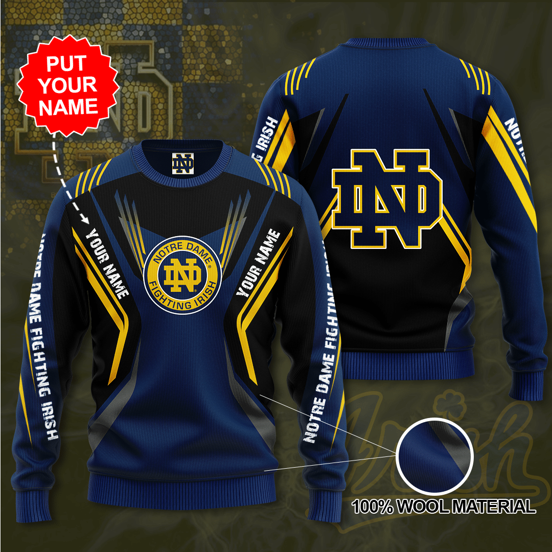 Personalized Name NOTRE DAME FIGHTING IRISH Sweater