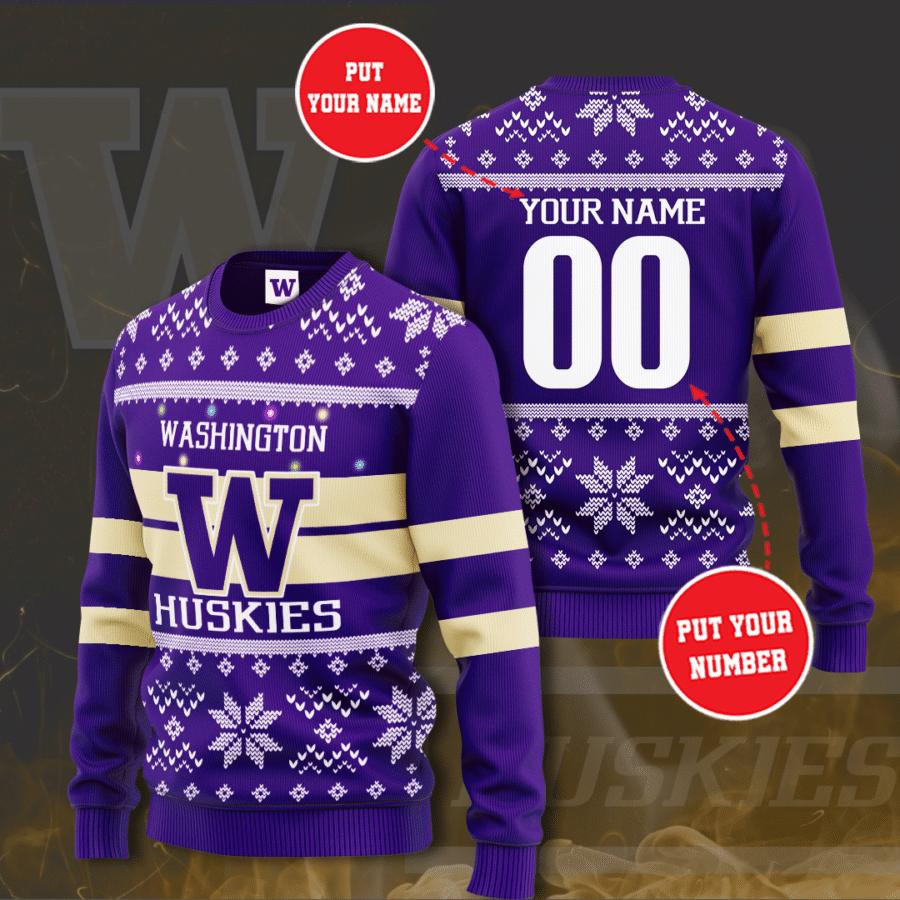 Personalized NCAA Washington Huskies Christmas Sweater