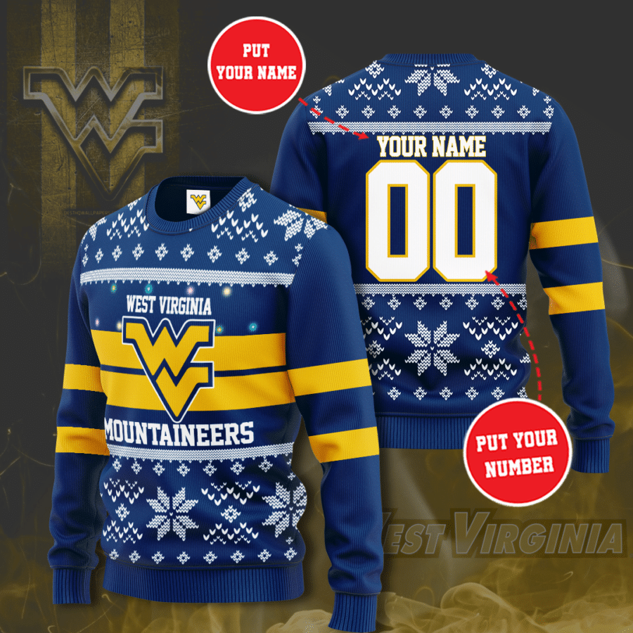 Personalized West Virginia Mountaineers Christmas Sweater