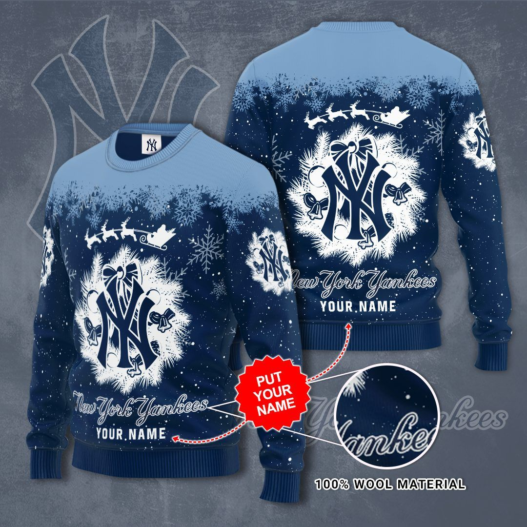 Personalized New York Yankees snow Christmas Sweater