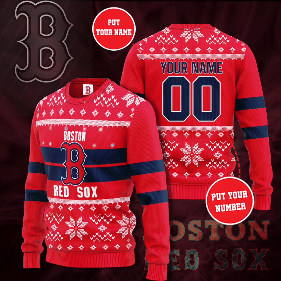 Personalized MLB Boston Red Sox Christmas Sweater