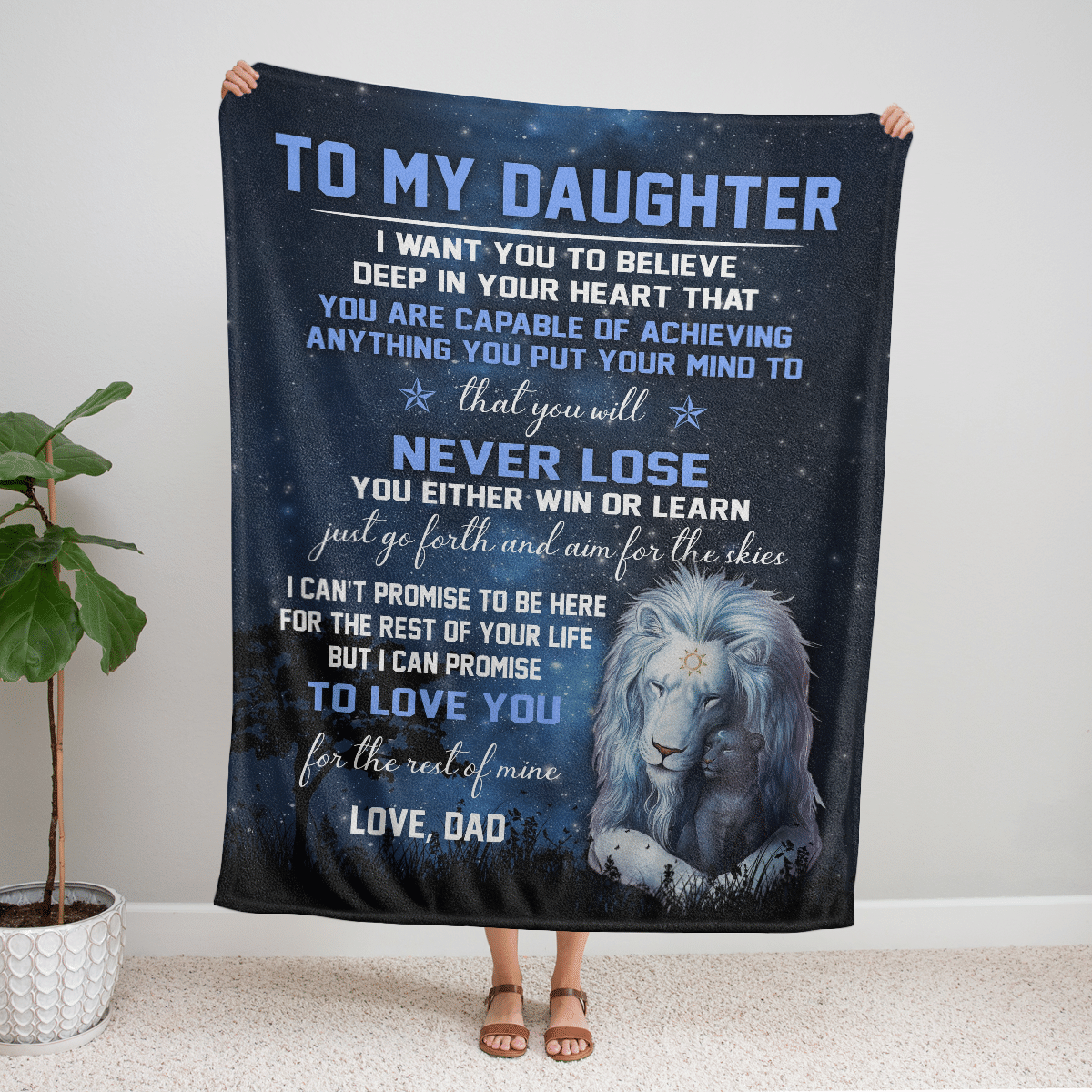 TO MY DAUGHTER LOVE DAD LIONS IN NIGHT SKY BLANKET