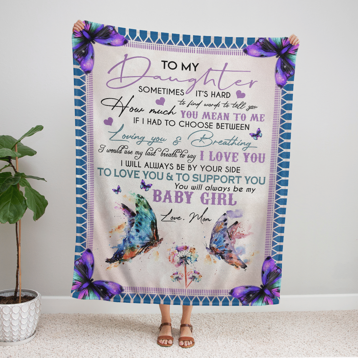 TO MY DAUGHTER BABY GIRL COLORFULL BUTTERFLY PREMIUM BLANKET