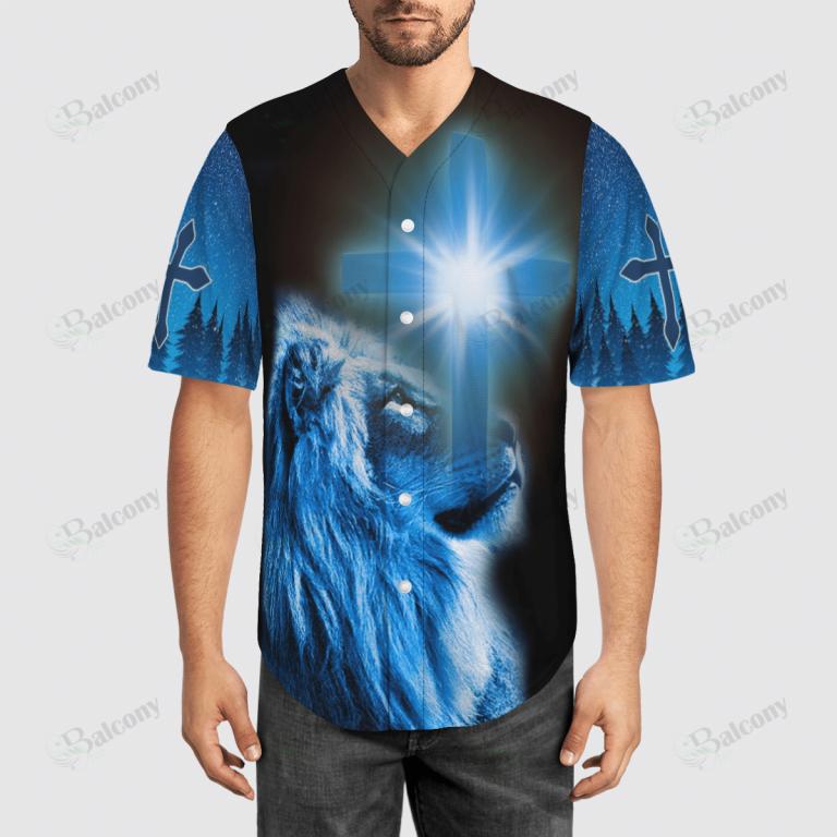 Jesus Lion under Cross Halo Baseball Jersey
