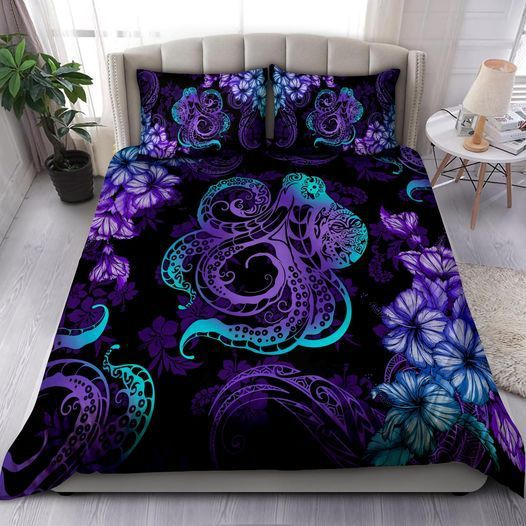 Kraken Octopus Purple Floral Quilt Bedding Set