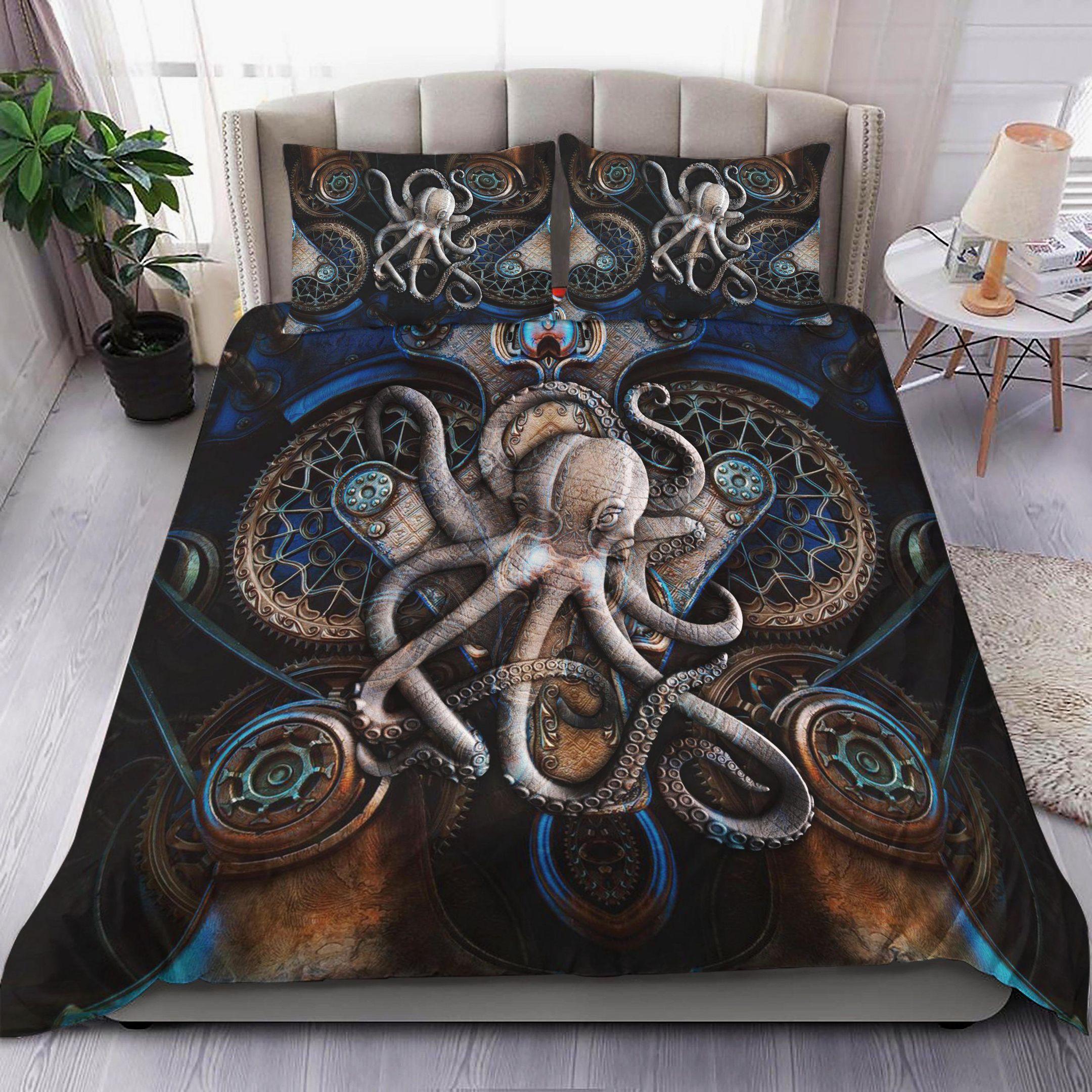 Kraken Octopus Stone Statue Pattern Quilt Bedding Set