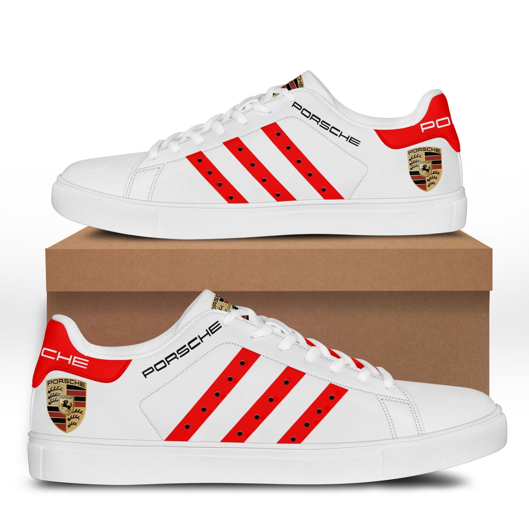 PORSCHE logo 911 red line white Stan Smith Shoes