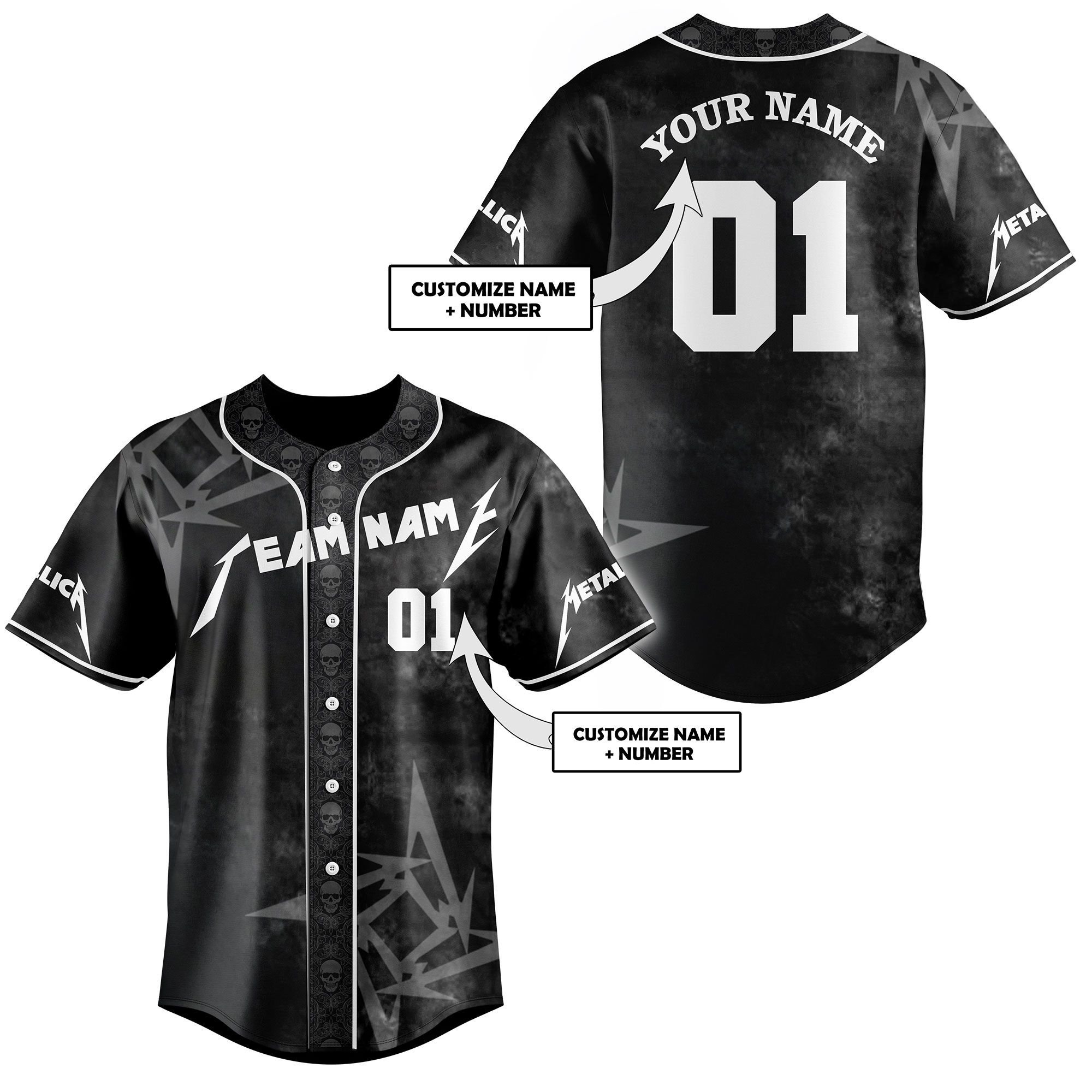 Metallica Black Premium Baseball Jersey