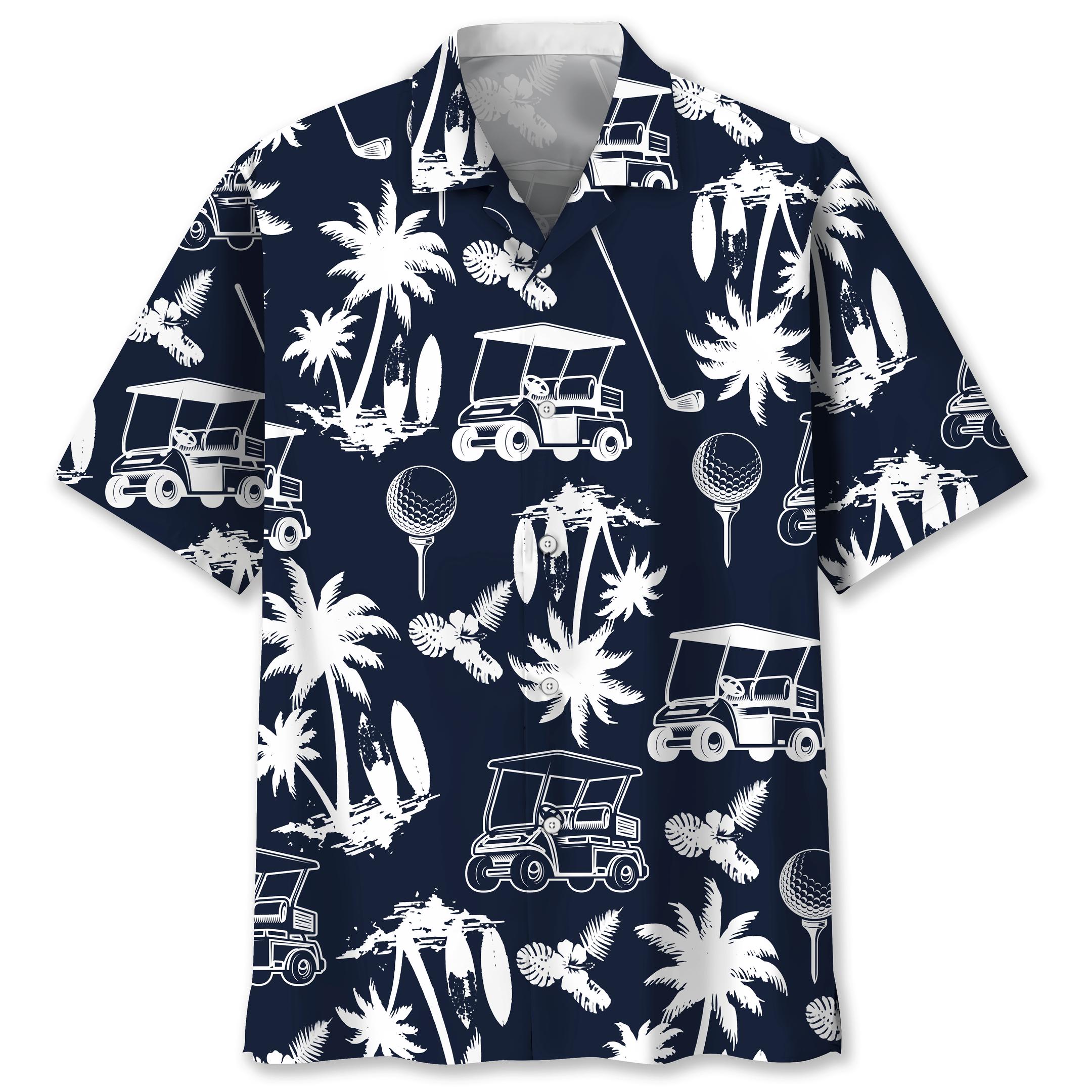 Golf Floral Coconut tree Hawaiian Shirt
