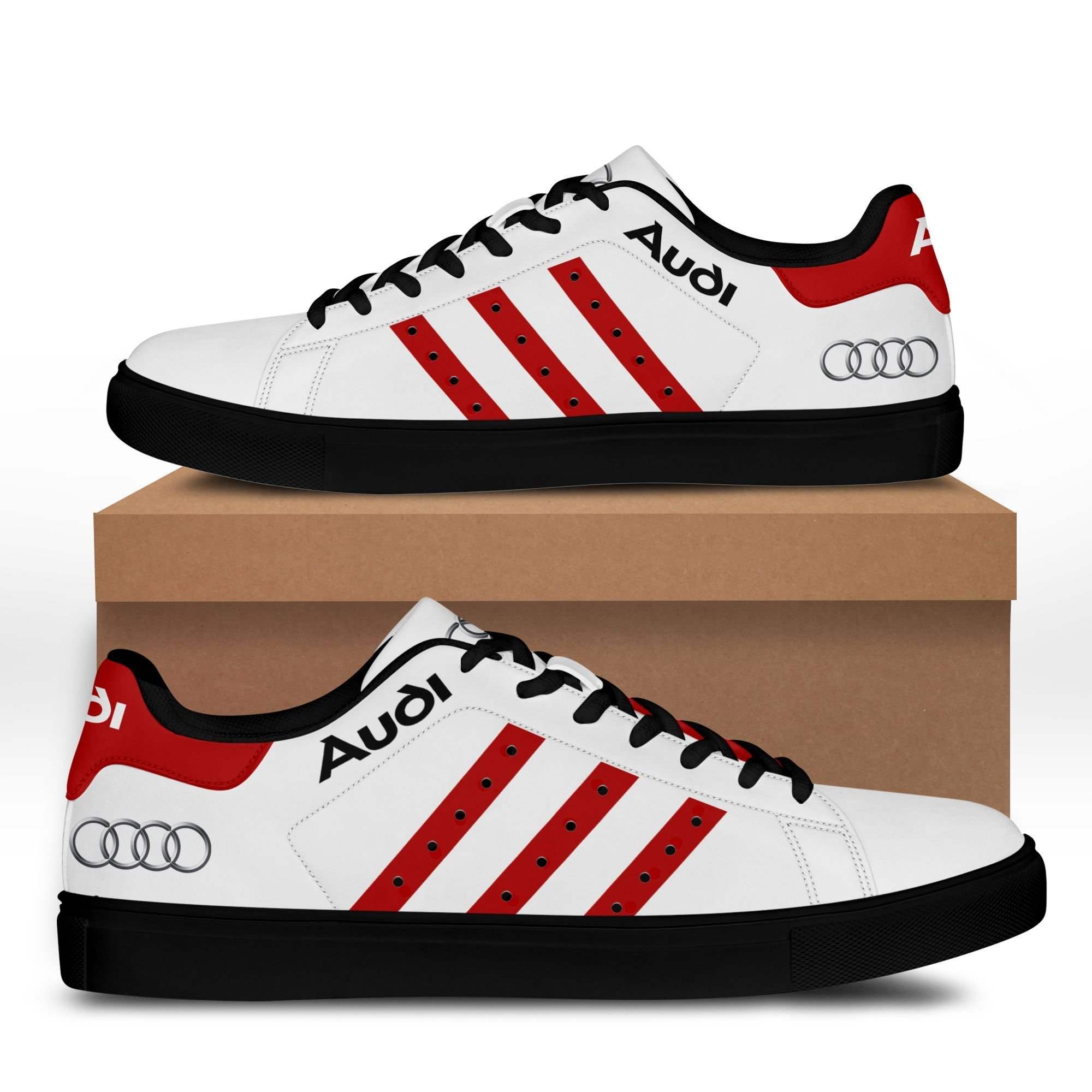 Audi auto white with red stripe line Stan Smith Shoes