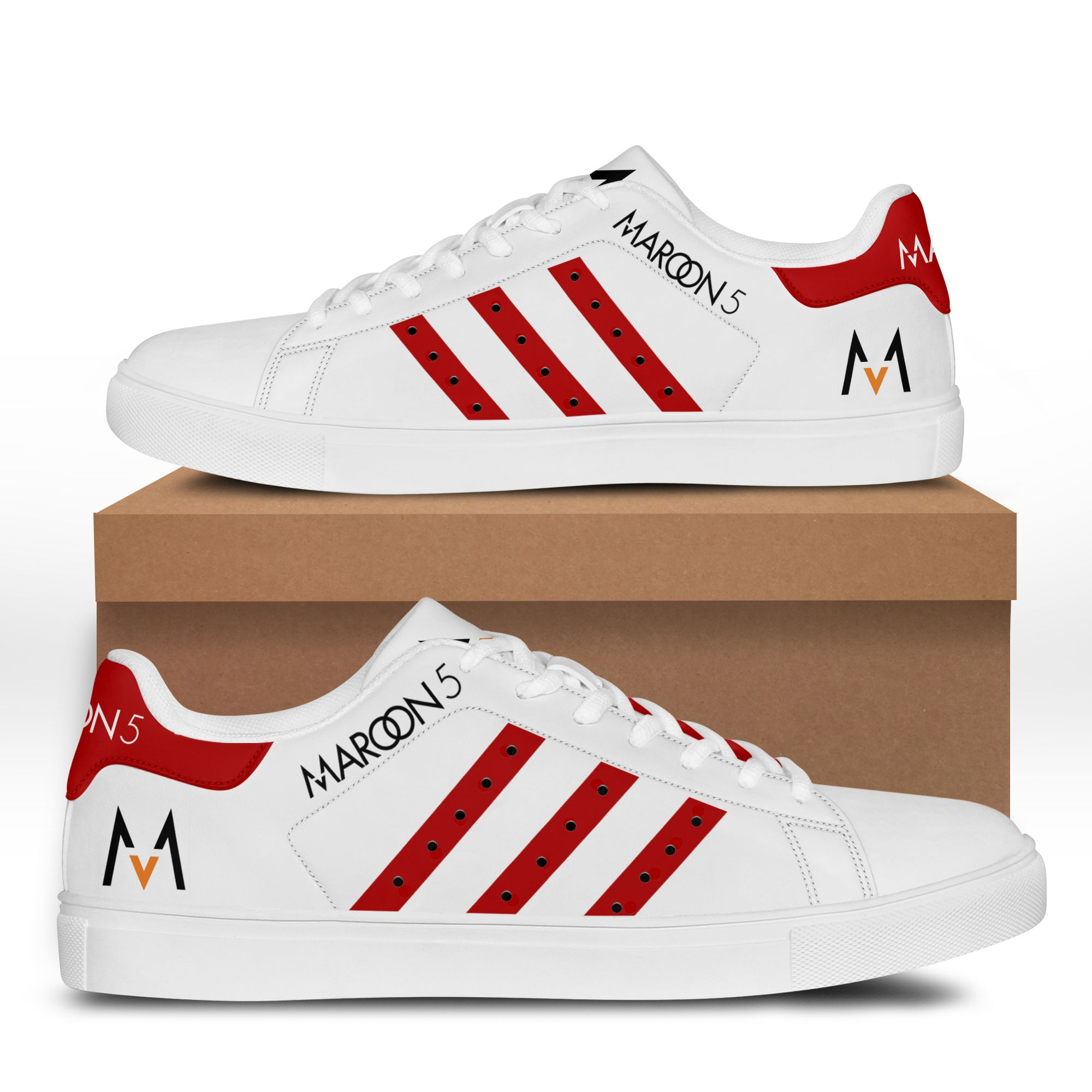 MAROON 5 red and white Stan Smith Sneaker