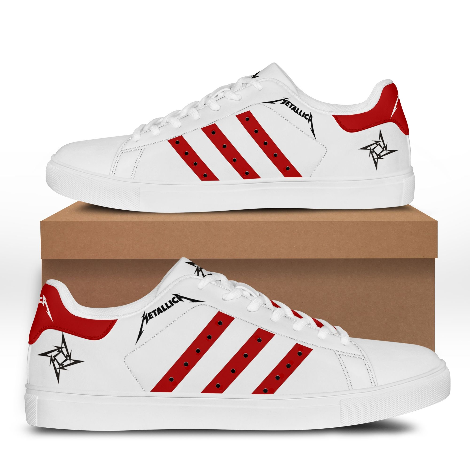 Metallica red line white Stan Smith Shoes