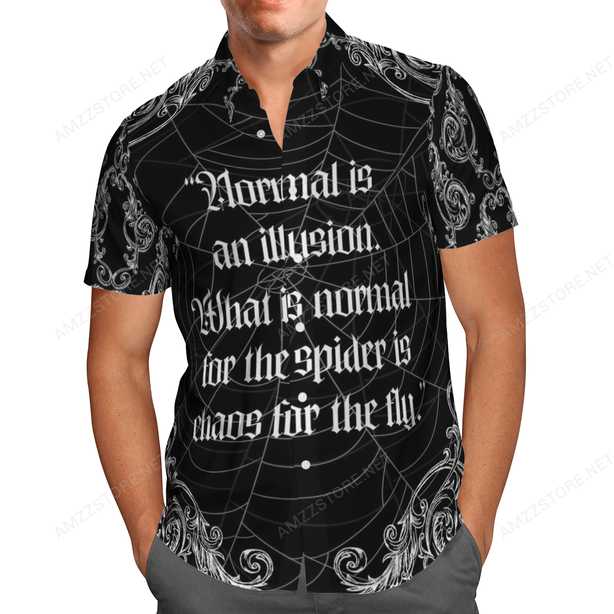 Normal Is An Illusion spiderweb black Hawaiian Shirt