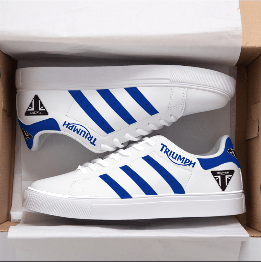 TRIUMPH BLUE LINES IN WHITE STAN SMITH SHOES