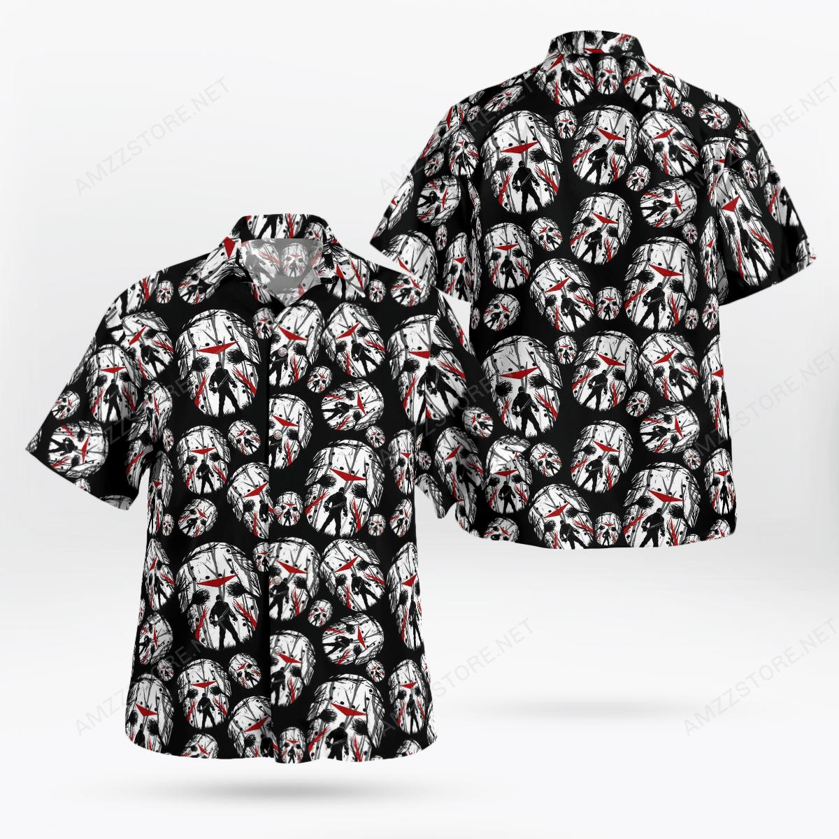 Jason Voorhees face 3D Hawaii Shirt Halloween Shirt