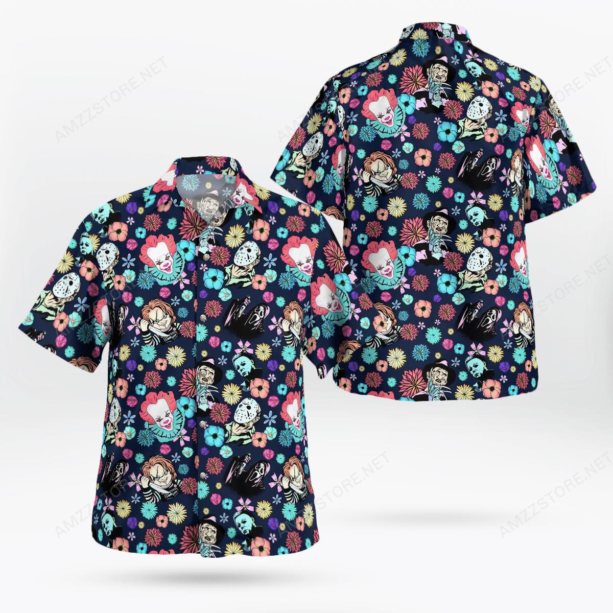 Halloween horror Characters tiny flower Hawaiian Shirt