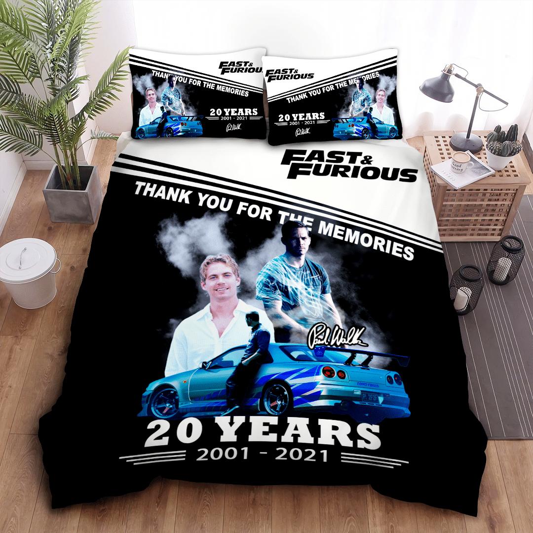 Paul Walker Fast and Furious 20 years memory black Bedding Set