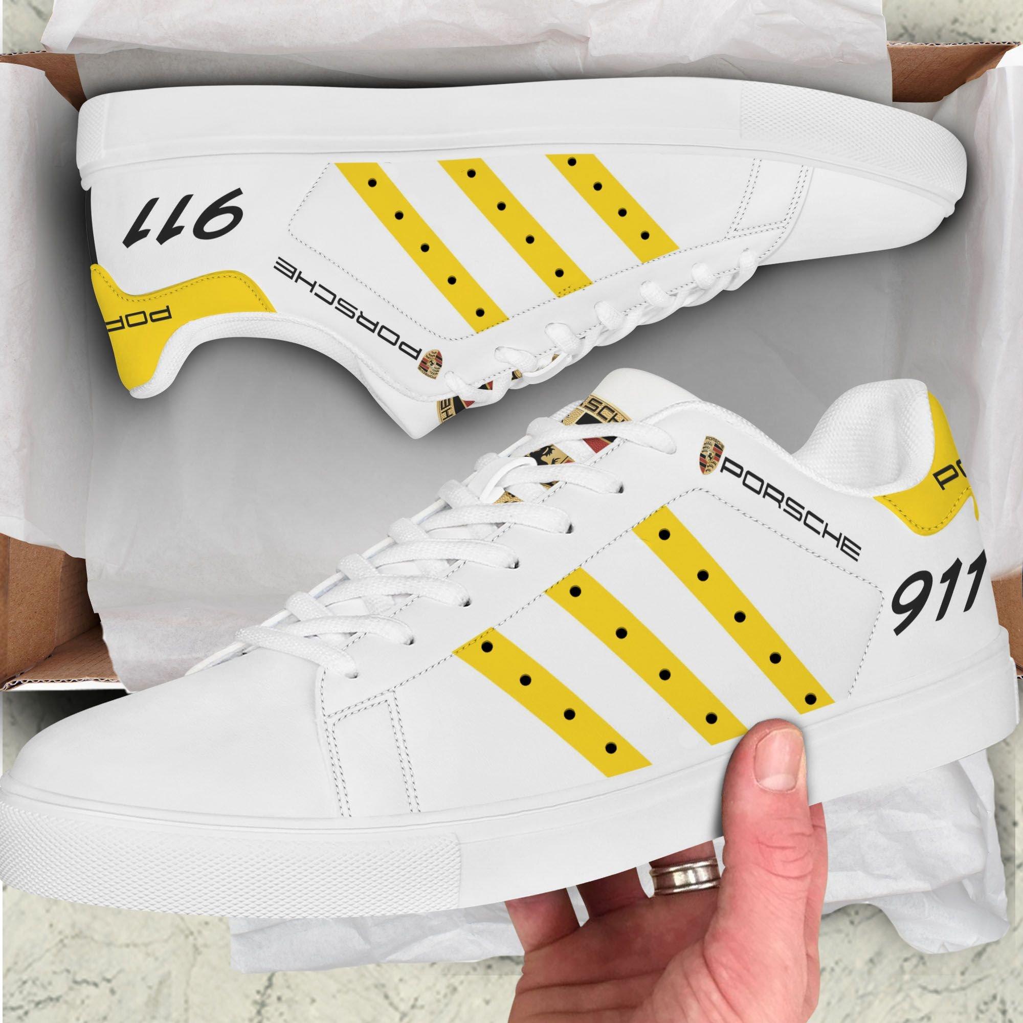 PORSCHE 911 yellow line white Stan Smith Shoes