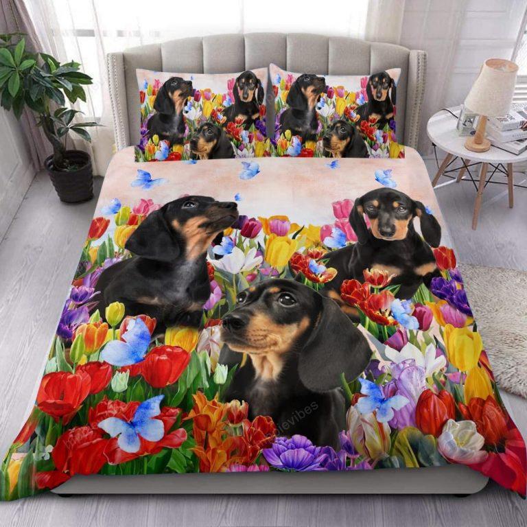 Dachshund Tulip Garden Bedding Set