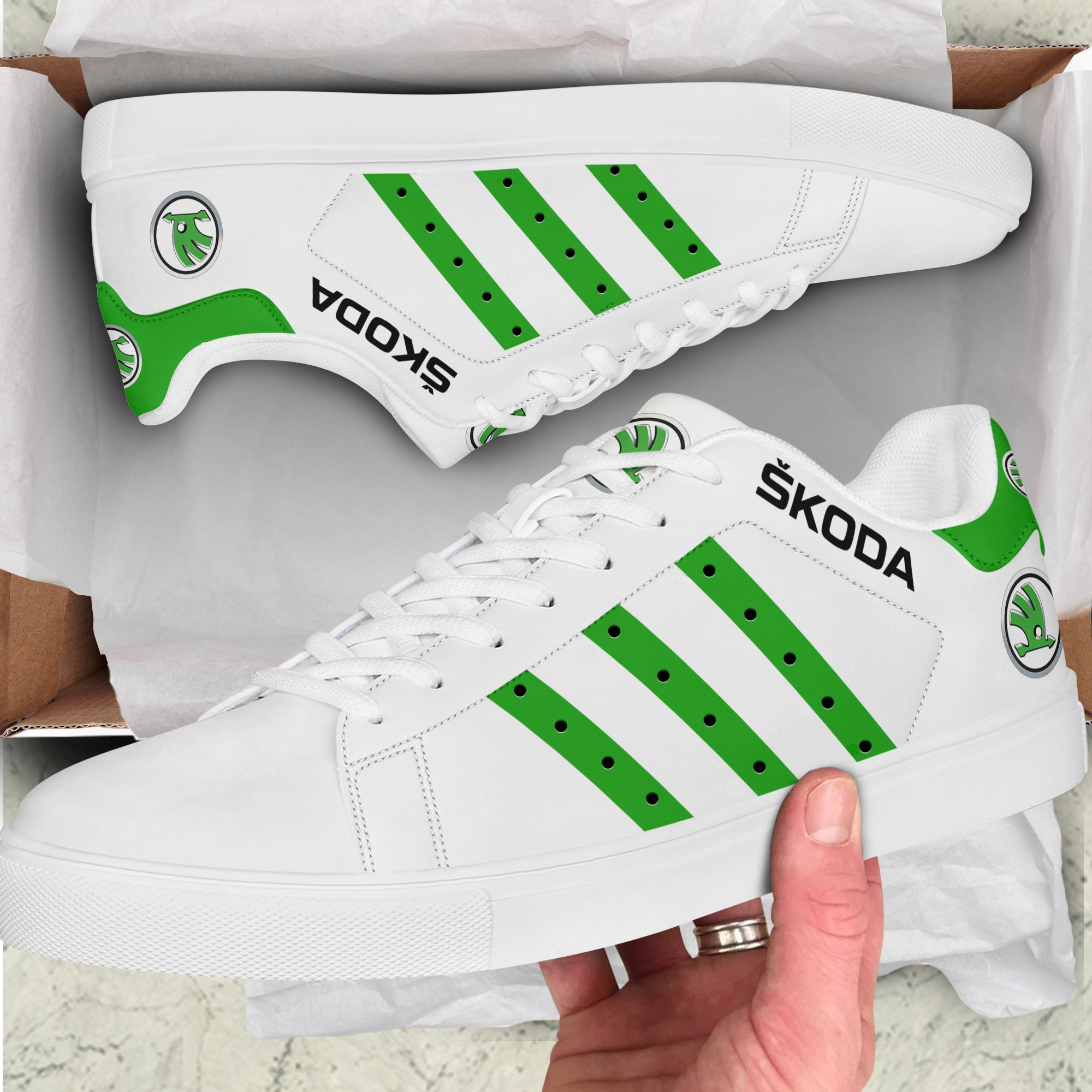 SKODA green and white Stan Smith Sneaker