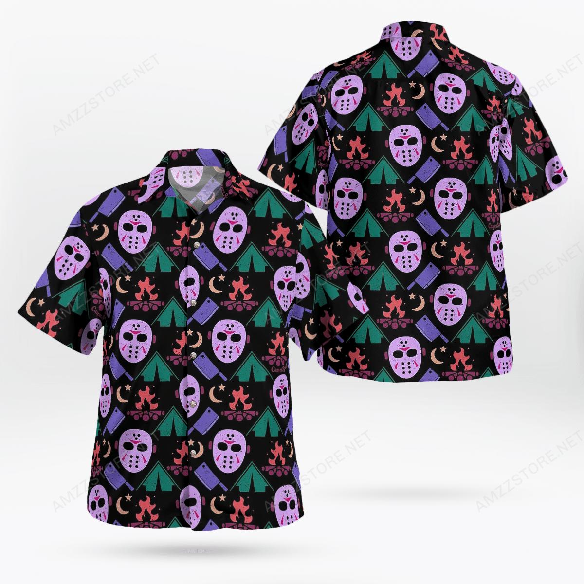 Jason Voorhees Camping Halloween Hawaiian Shirt