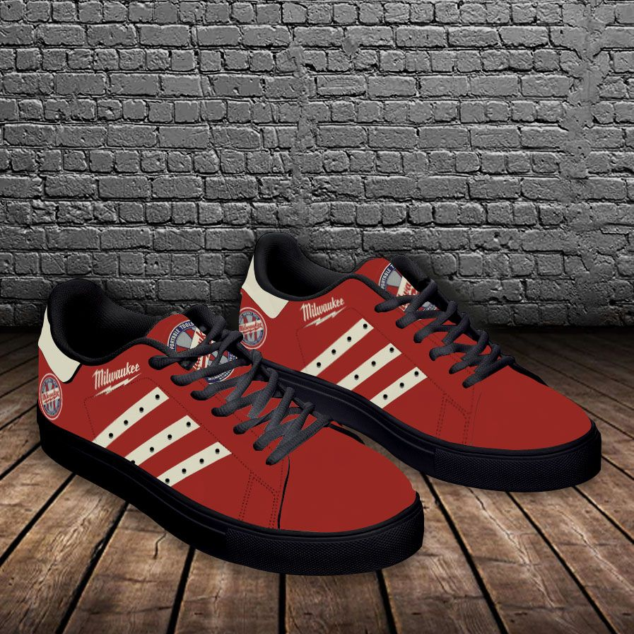 Milwaukee red white stripe line Stan Smith Shoes