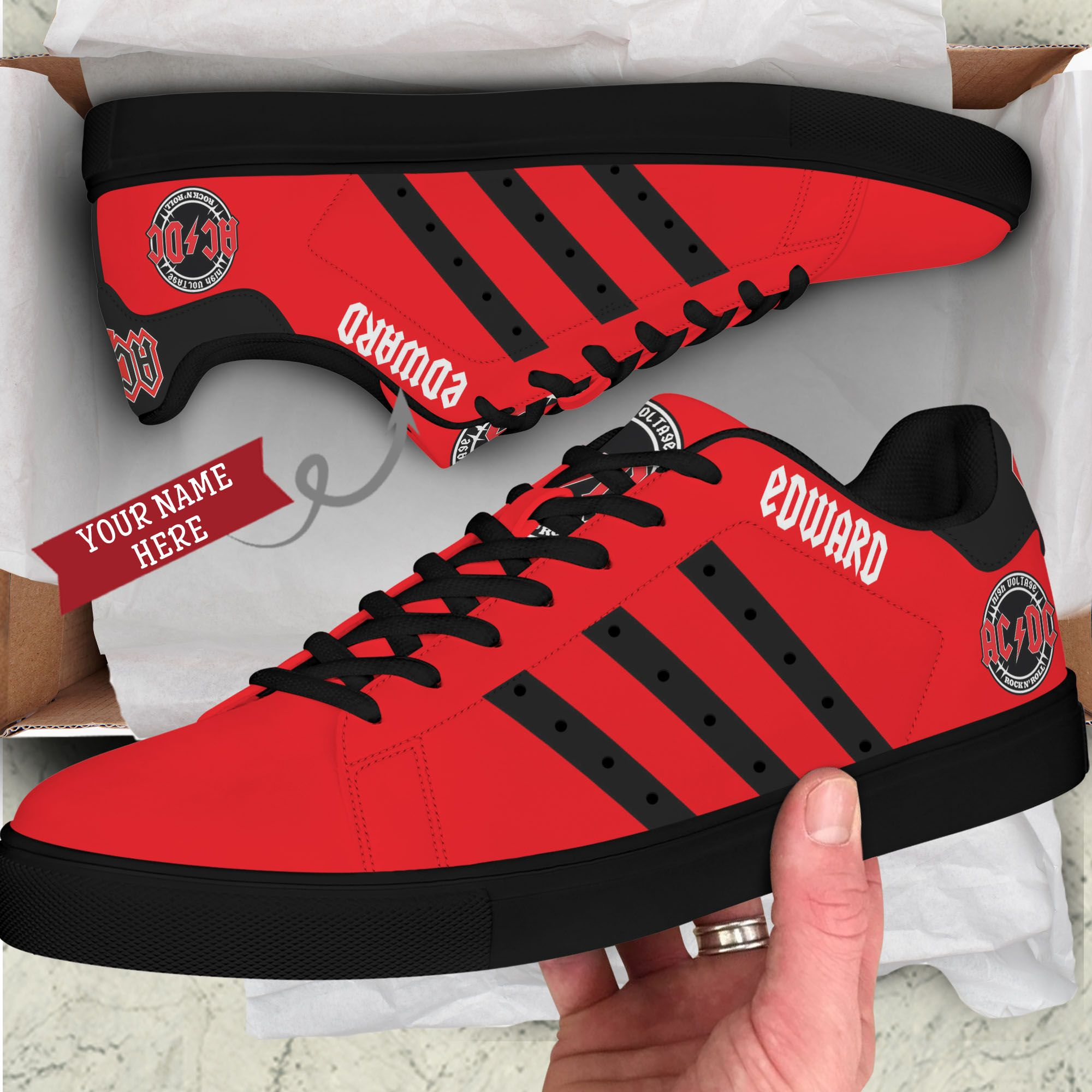 Custom Name ACDC Red Stan Smith Shoes