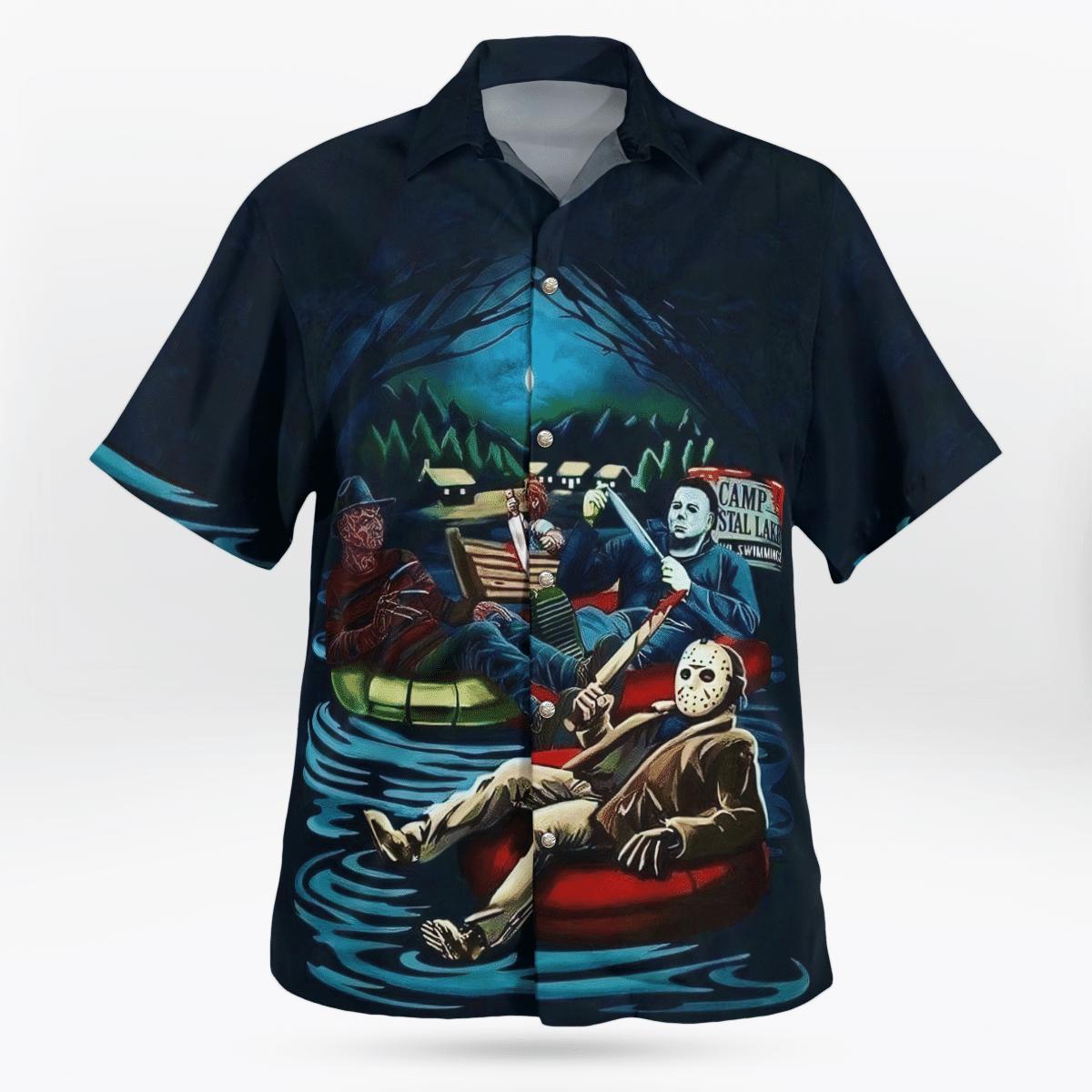 HORROR character camping at lake Hawaiian Shirt