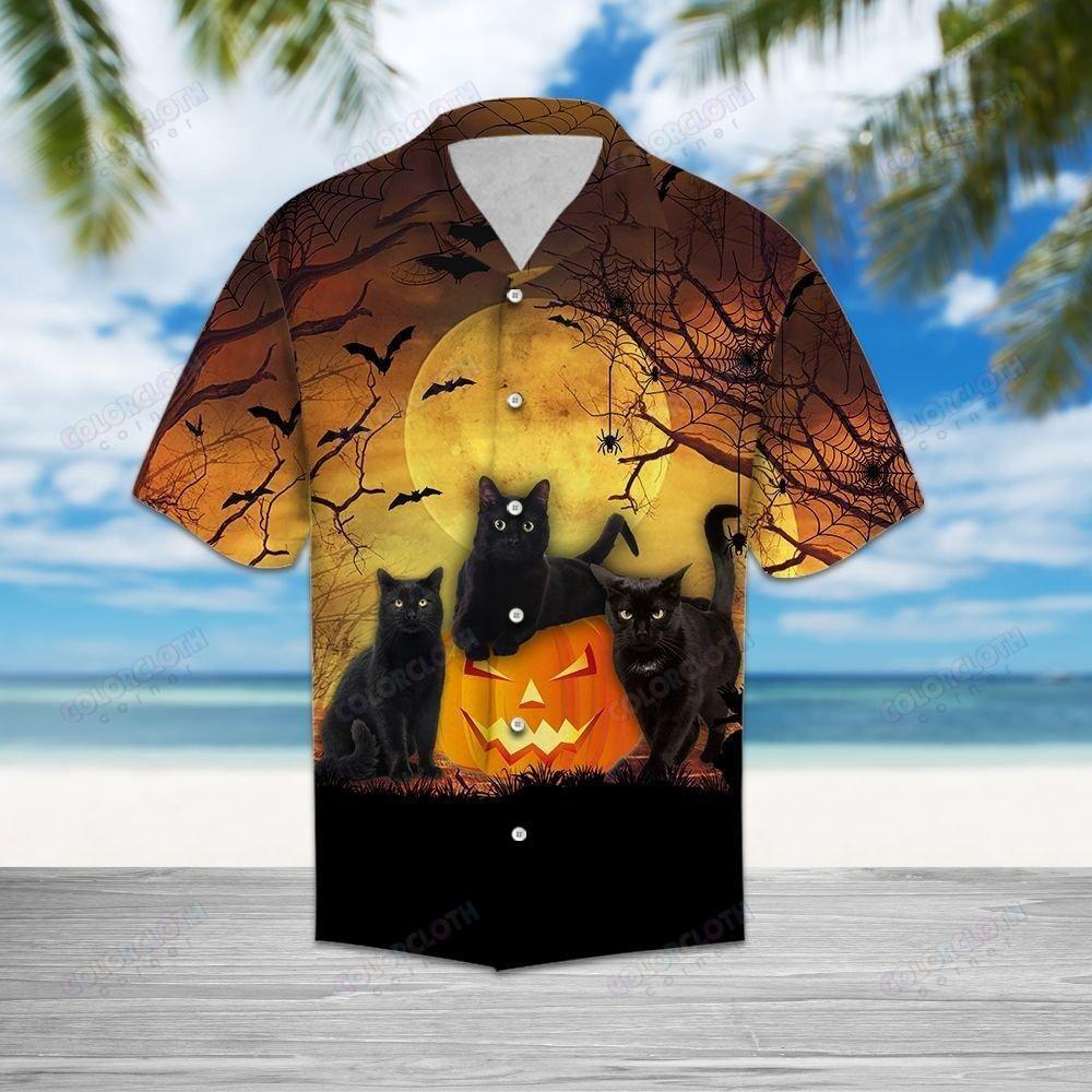 Black Cat Halloween Pumpkin Full Moon Hawaiian Shirt