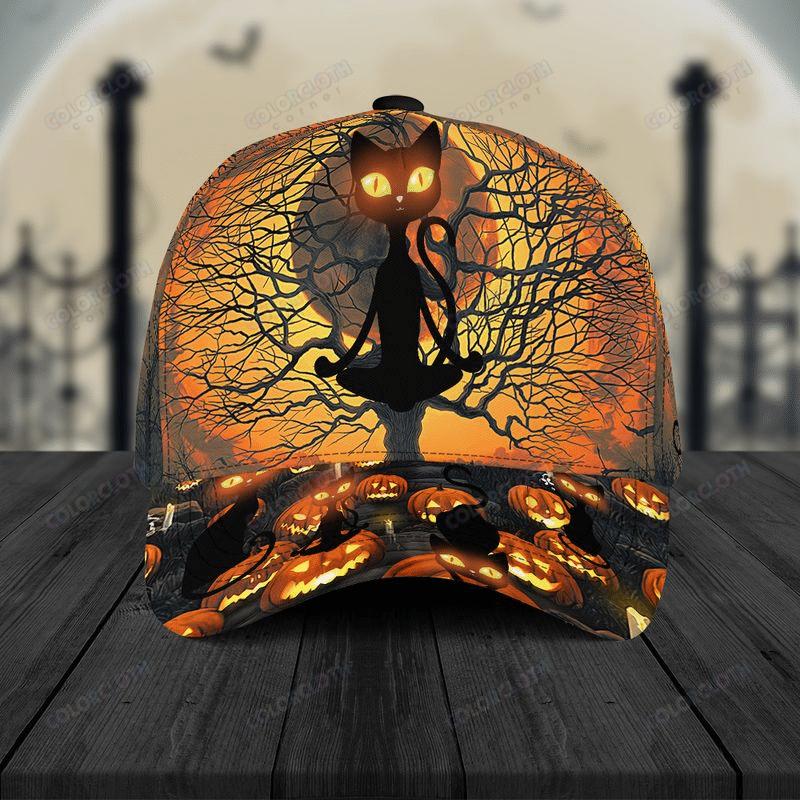 Black Cat dry tree Halloween Cap