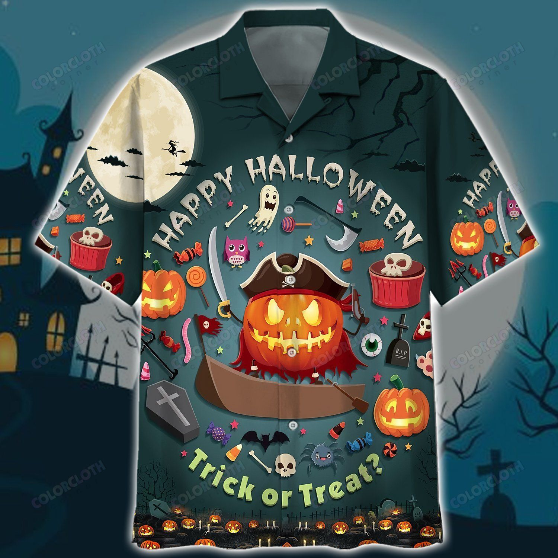 Halloween Pumpkin pirates Trick or Treat Hawaiian Shirt