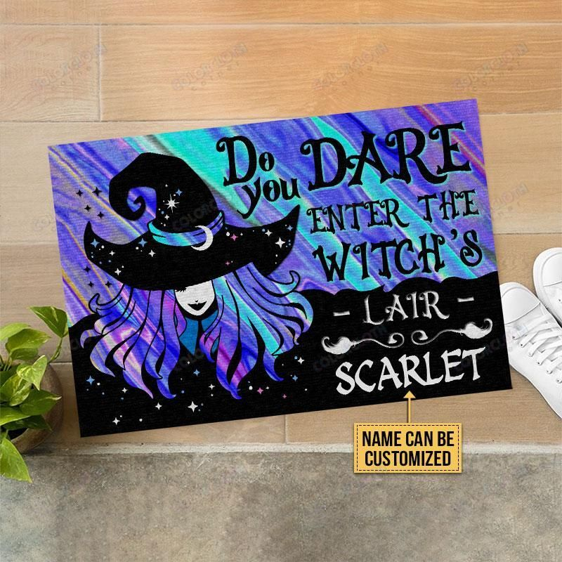 Custom Name Witch Wizard Halloween Do You Dare Enter the witch's lair Doormat