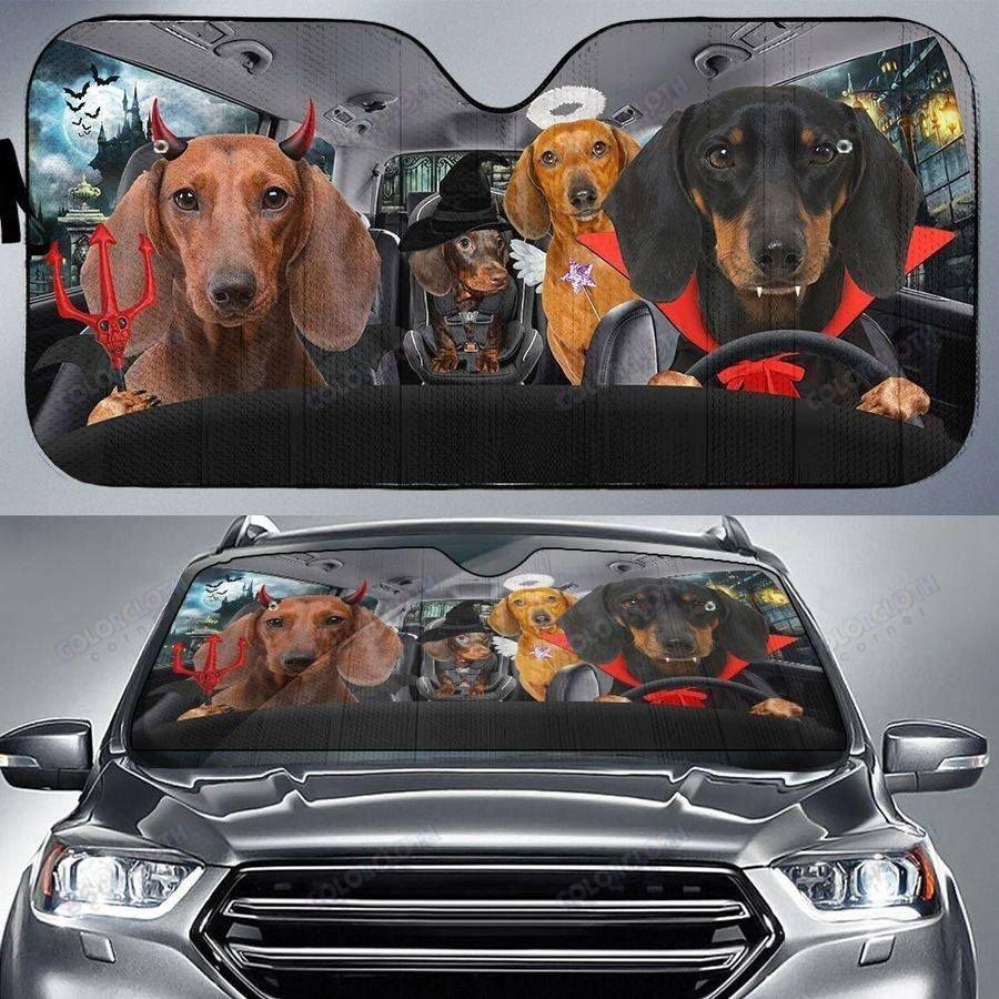 Halloween Version Dachshunds Family Driving Car Sunshade
