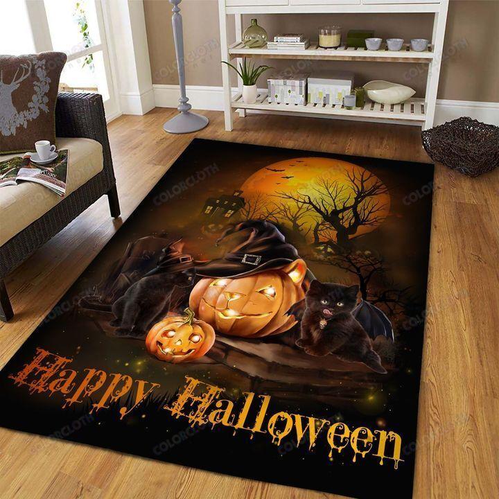 Black Cat Happy Halloween Carpet Rug