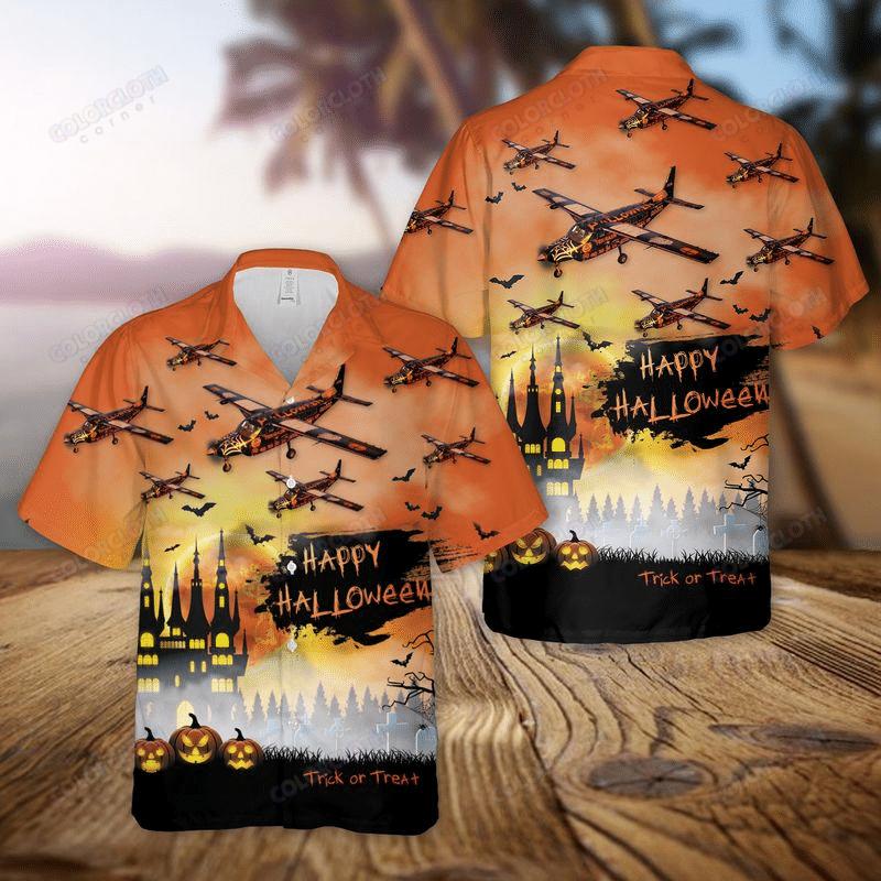 Fly With Aircraft Halloween Trick or Treat Hawaiian Shirt And Shorts