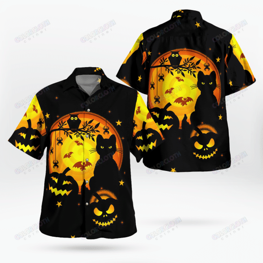 Awesome Black Cat And Pumpkin Happy Halloween Hoodie and T-shirt