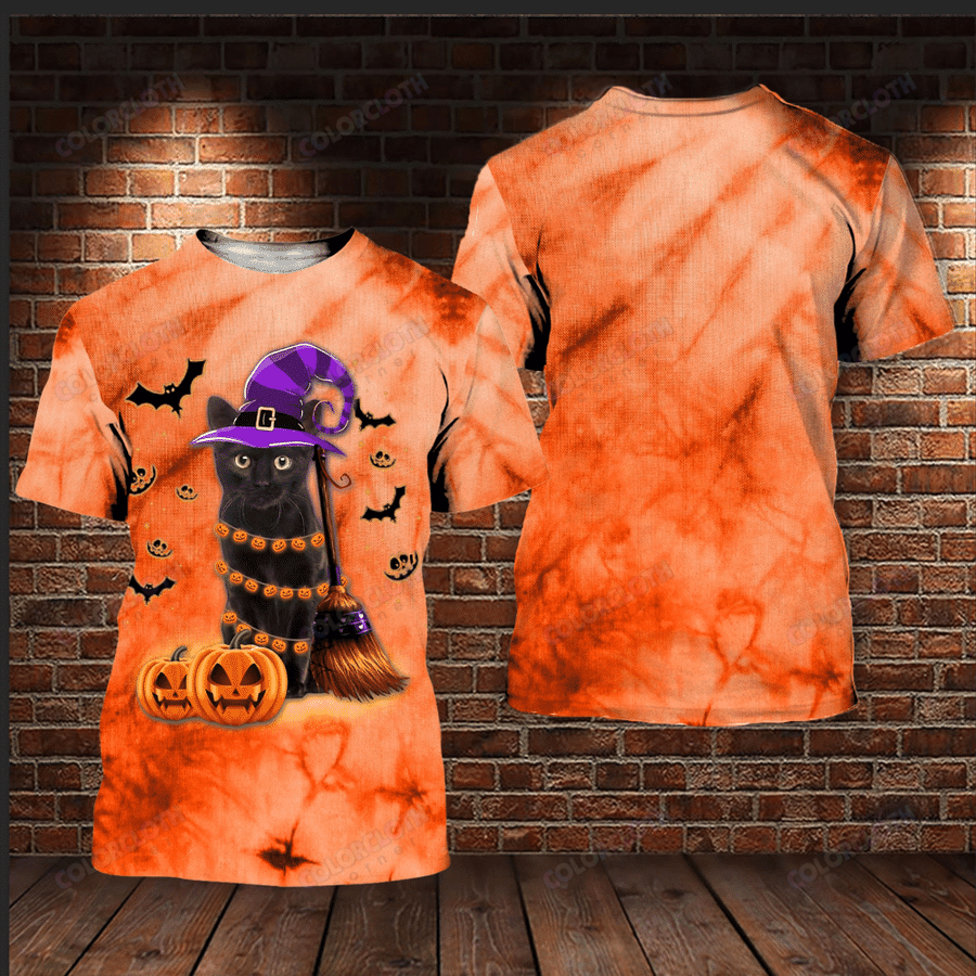 Black Cat Happy Halloween 3D hoodie and T-shirt
