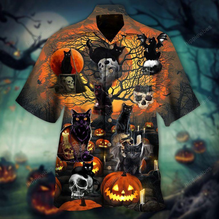 Black Cat with Skull Halloween Hawaiian Shirt