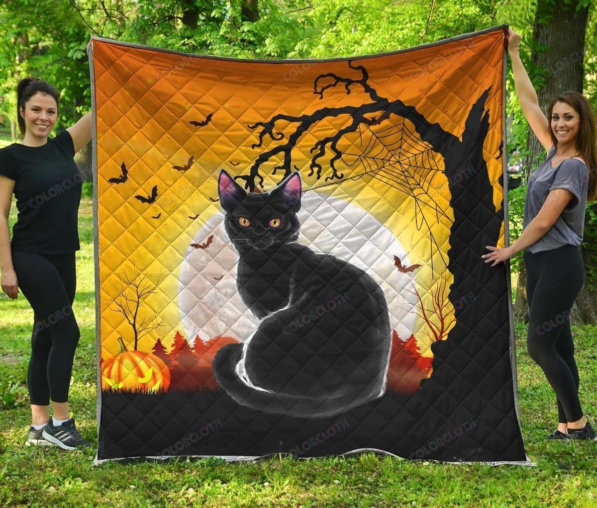 Black Cat Full Moon Halloween Quilt Blanket