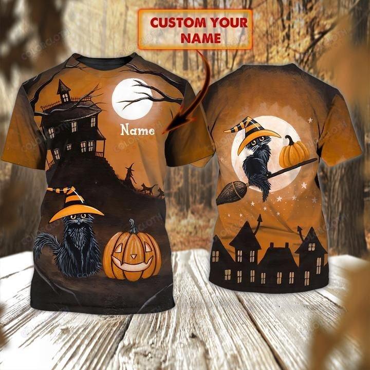 Personalized Name Halloween Black Cat Pumpkin Tshirt