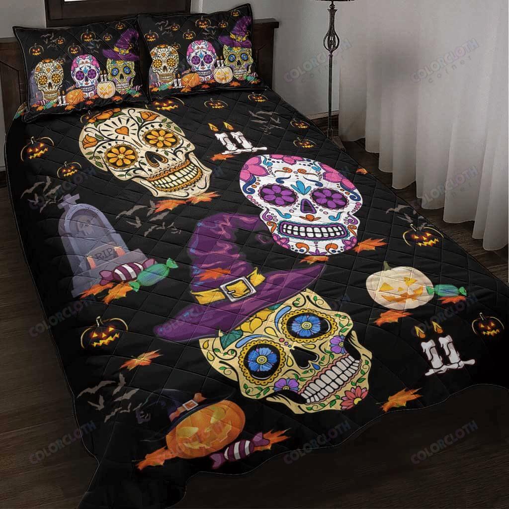 Happy Halloween Skull Quilt Bedding Set
