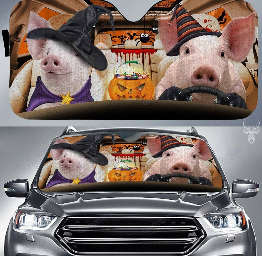 Happy Pig Halloween Car Sunshade