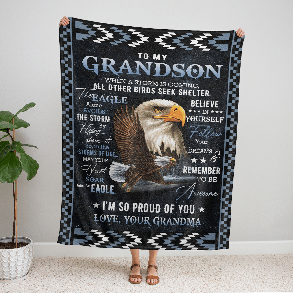 TO MY GRANDSON EAGLE PROUD OF YOU BLANKET