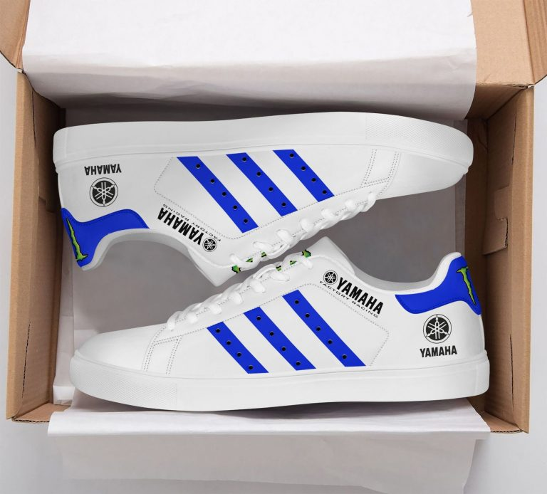 Yamaha Racing Blue line in White Stan Smith Shoes
